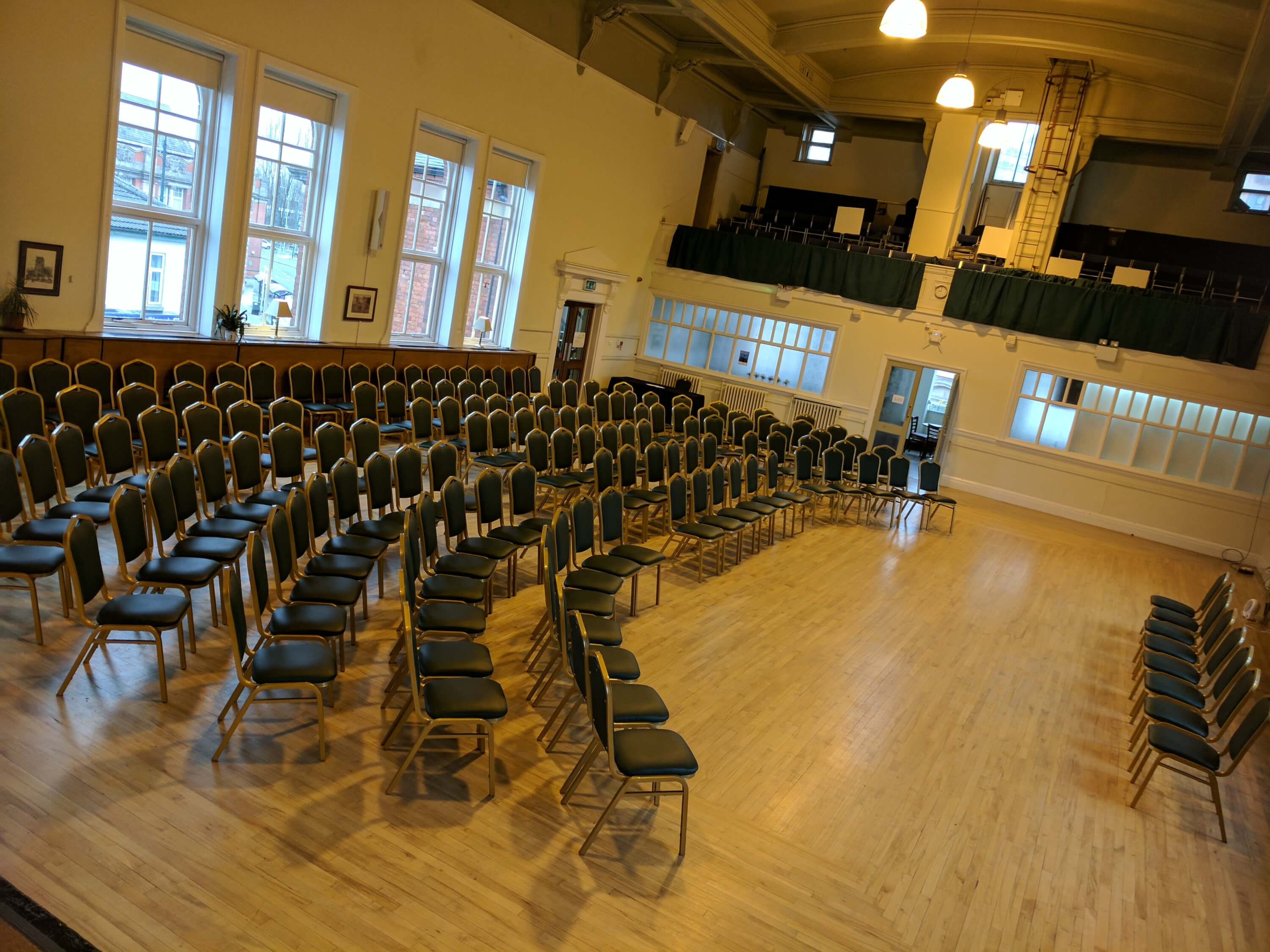 Hall set up for a concert